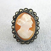OLD Shell Cameo Marcasite Sterling Ring