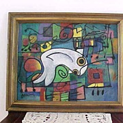 "LACKOVIC, ""Big White Fish"" Signed Original Painting"
