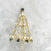 Rhinestone Umbrella Pin Large Vintage Nice!