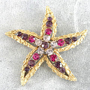 Coro Starfish Brooch Pin 1950s Amethyst Gorgeous!