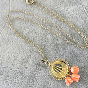 Angel Skin Coral Roses Necklace Vintage Gold Filled