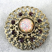 Jelly Opal Brooch Vintage Purple Rhinestones Filigree