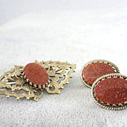 Vintage Goldstone Set Brooch Earrings Sparkles Demi