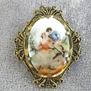 OLD Portrait Pin Fancy Bezel Courting Couple