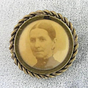 Antique Braided Portrait Pin Victorian