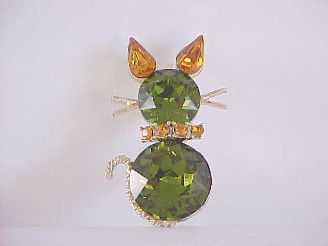 Dodds Kitty Cat Pin Green Orange Vintage Gorgeous!