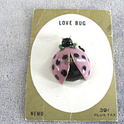 Love Bug Pin Enamel Signed Nemo Original Card Vintage Lady