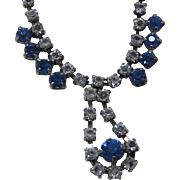Vintage blue and clear rhinestone prom necklace