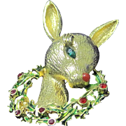 Vintage Mylu Rudolph red nose reindeer pin with holly wreath