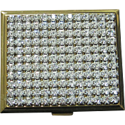 Vintage rhinestone compact gold  color metal frame