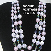 SALE Vintage triple strand purple necklace