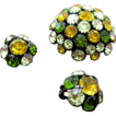 Vintage domed fall colors rhinestone pin set