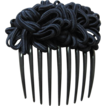 Vintage black celluloid hair comb with ornamental fabric top