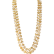 Vintage peach double strand moonglow bead necklace