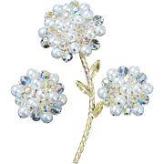 Vintage AB crystal and faux pearl large flower pin with matching earrings