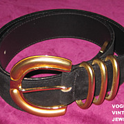 Vintage black suede belt with big brassy metal buckle