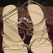 Vintage 6 inch strappy lucite sandal shoes