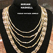 Vintage Miriam Haskell gold tone metal chains waterfall necklace