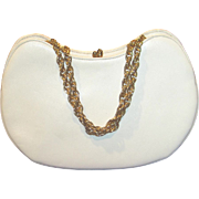 Vintage crescent shape white leather purse