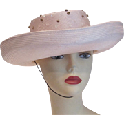 Vintage Whittall & Shon cream beaded sequinned straw hat