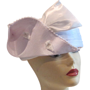 Vintage Lurel  white satin bridal or cocktail hat