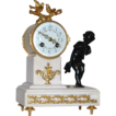 Antique French, &quot;J-S&quot; Bronze and Marble Figural Mantle Clock