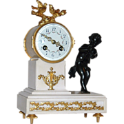 "REDUCED Antique French, ""J-S"" Bronze and Marble Figural Mantle Clock"