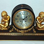 REDUCED Chelsea Clock Co., Custom Mahogany and Gilded Bronze Mantel Clock
