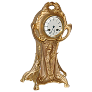 Art Nouveau Gilt Metal Mantel Clock  8 Day Time & Chime