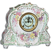 REDUCED Antique Ansonia Royal Bonn Porcelain Mantel Clock