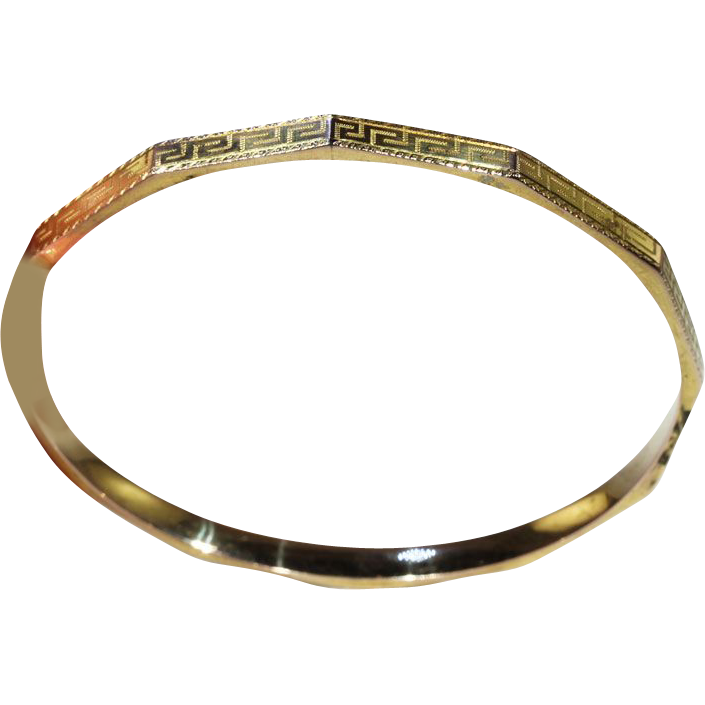Vintage Art Deco Round Upper Arm Bangle Bracelet with Greek Key Motif, 9k Gold