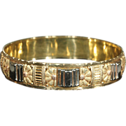 SALE Superb Art Deco Bangle Bracelet, French 3 Tone 18k Gold