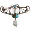 Antique Art Nouveau Turquoise and Pearl Pin/Brooch, 9k c.1900 Signed 'B.H.J.'