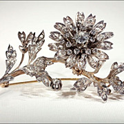 Antique French En Tremblant Diamond Floral Spray Brooch c. 1870
