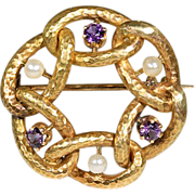 Beautiful Antique French Arts and Crafts Amethyst an Pearl Brooch c.1900