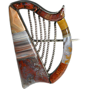 SALE Rare Harp Shaped Mid-Victorian Scottish Agate Brooch c.1860