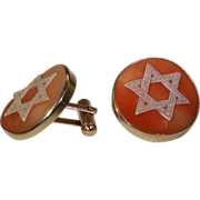 Vintage Star of David Shell Cameo Cufflinks in 12k Gold Mounts