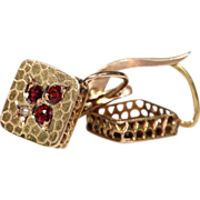 Antique French Garnet and Pearl Earrings with Snakeskin Pattern, 18k Gold