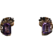 Stylish Vintage Retro Amethyst and Gold Floral Earrings