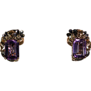 SALE Stylish Vintage Retro Amethyst and Gold Floral Earrings
