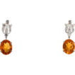 Stunning Art Deco Fire Opal and Diamond Platinum Earrings
