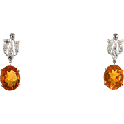 SALE Stunning Art Deco Fire Opal and Diamond Platinum Earrings