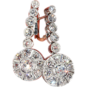Stunning Art Deco Diamond Earrings, Over 6 Carats!, 1920's in Platinum