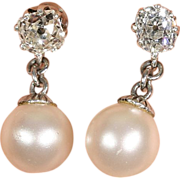 Stunning Vintage Art Deco Diamond and Pearl Earrings c.1920