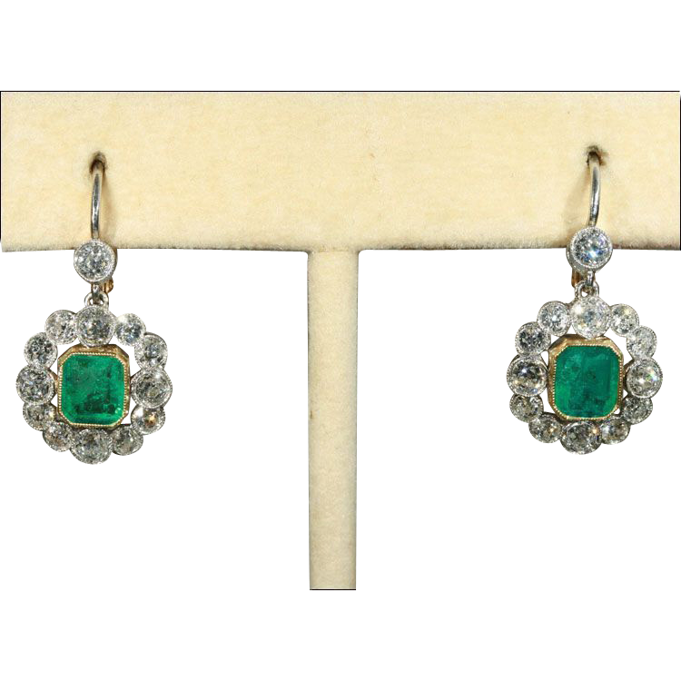 Antique Edwardian Emerald and Diamond Earrings in 18k Gold and Platinum