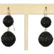Antique Victorian Carved Bog Oak Earrings, c. 1860