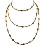 Antique French 18k Gold Heavy Long Guard Chain, 54 inches