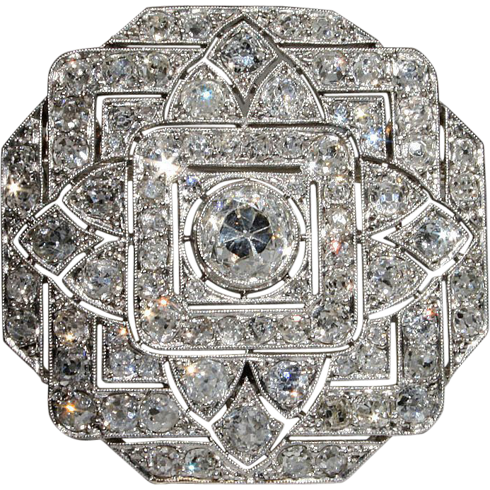 Spectacular Platinum Art Deco 6+ carat Diamond Pin & Pendant
