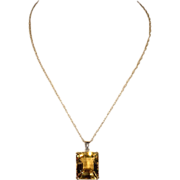 Large Vintage 27+ Carat Citrine Necklace in 9k Gold