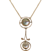 Antique Arts & Crafts 9k Gold Mother of Pearl Necklace